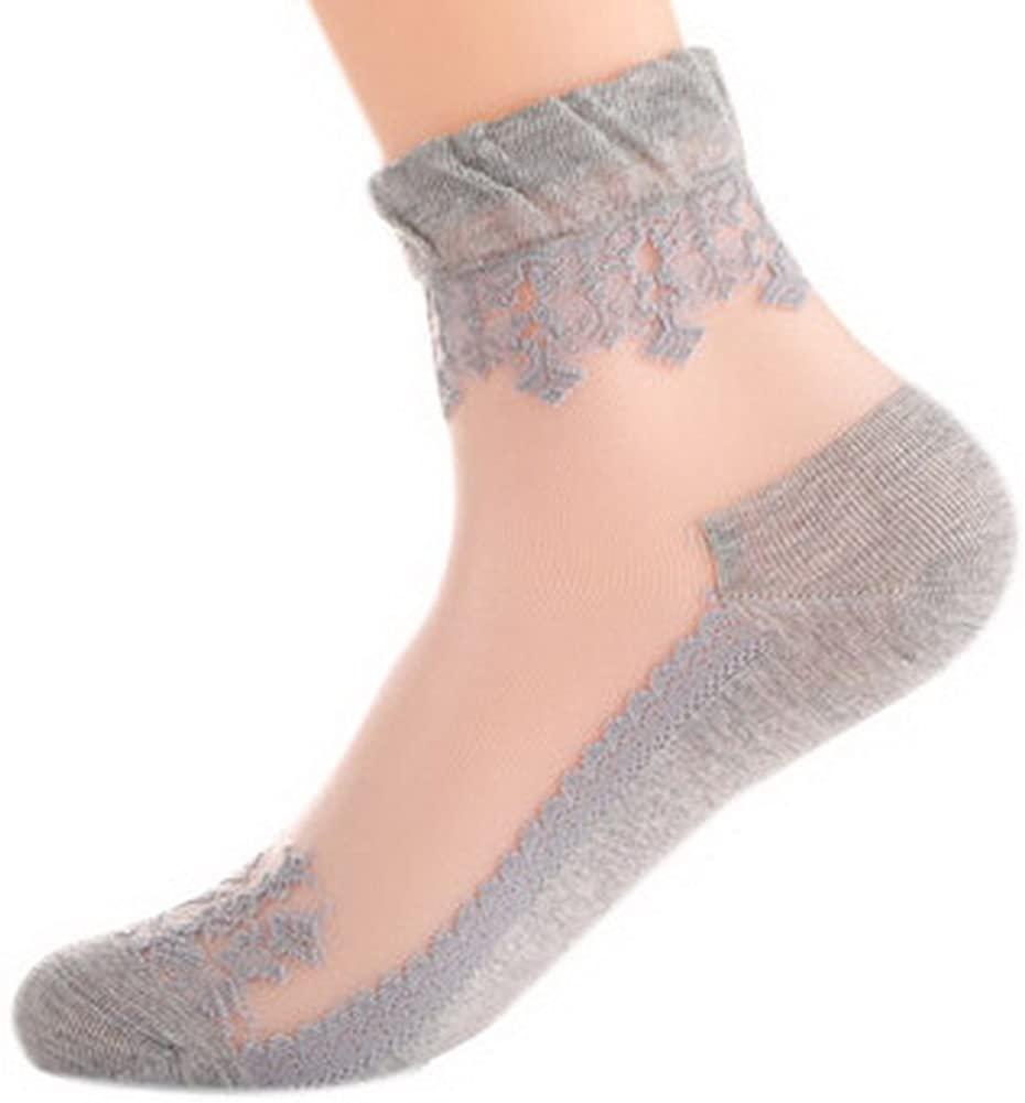 5 Pairs Women's White Ice Silk Socks Cotton Sole Elastic Short Ankle Socks, Gray