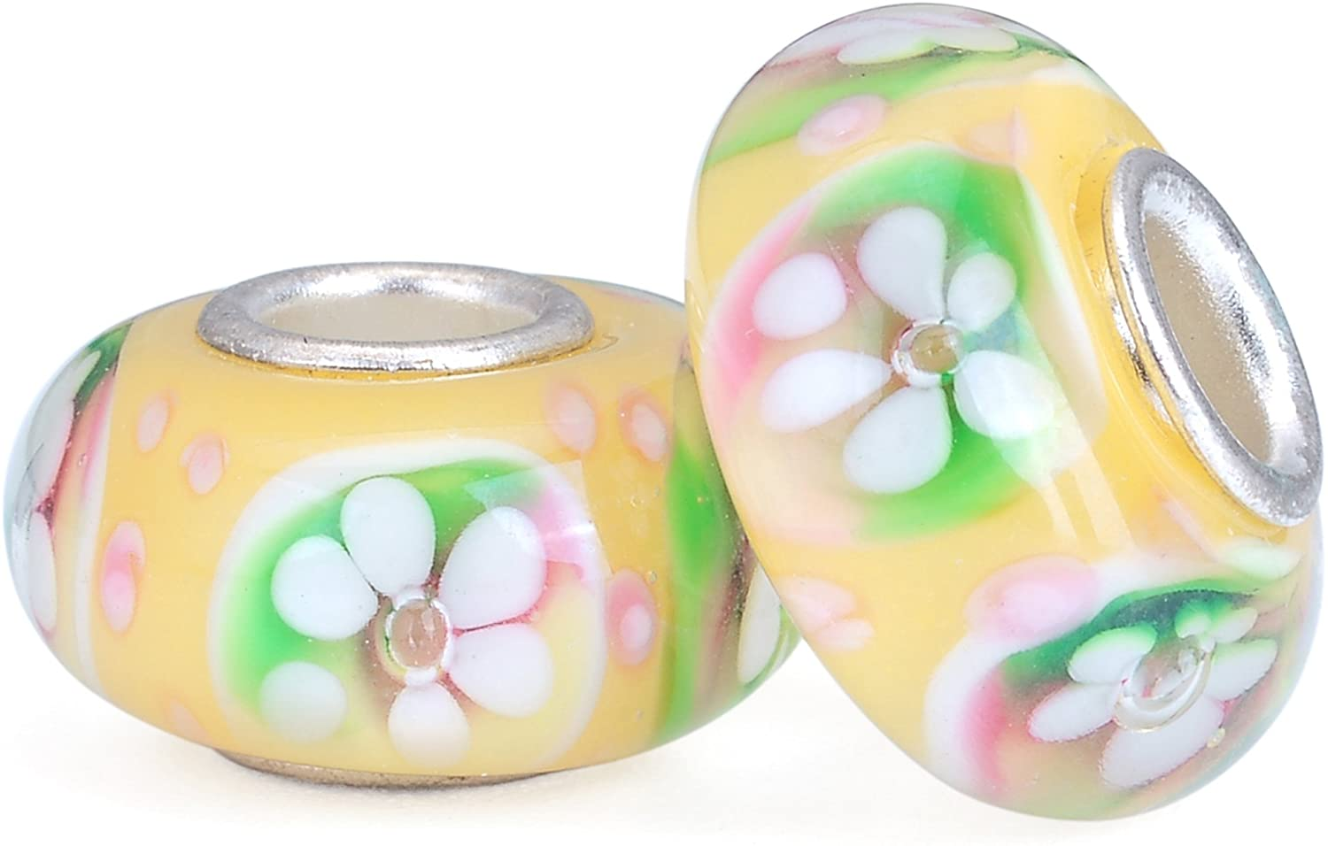RUBYCA Yellow Flower Murano Glass European Charm Beads Silver Color Core for DIY Jewelry Making 6pcs