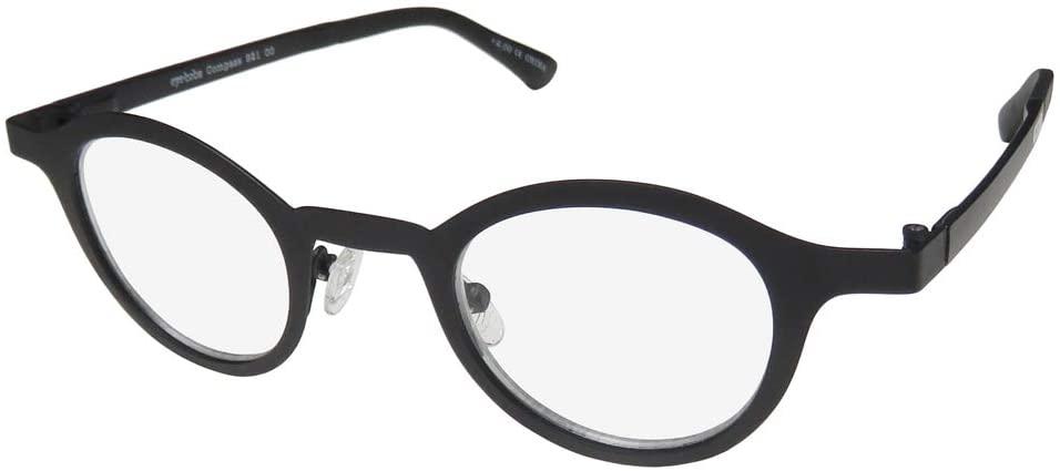 Eyebobs Compass 921 Mens/Womens Round Full-Rim Authentic Retro Reading Glasses/Readers (41-24-145 / Power: +2.00, Black)