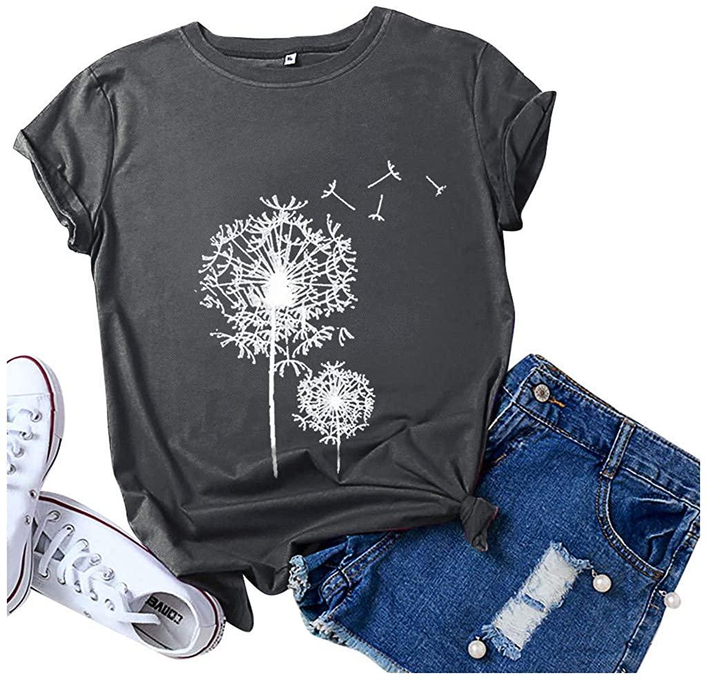 Eduavar T-Shirt for Women, Womens Summer Casual Dandelion T Shirts Vintage Short Sleeve Round Neck Graphic Tees Tops