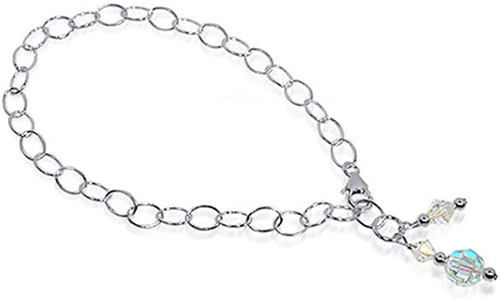 Gem Avenue Round Clear Swarovski Elements Crystal Sterling Silver Foot Oval Chain Anklet Ankle Bracelets