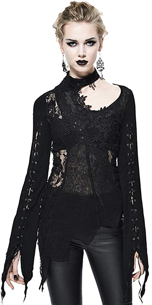 Punk Goth Clothing for Women Black Lace Shirts for Women Sexy See Through Lace Up Long Sleeves Blouse Halter Tops for Women