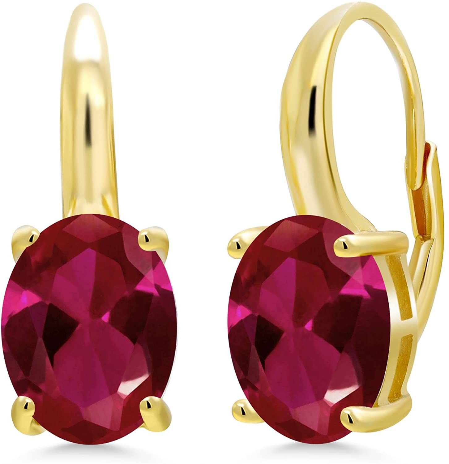 Gem Stone King 5.00 Ct Oval Red Created Ruby 18K Yellow Gold Plated Silver Earrings