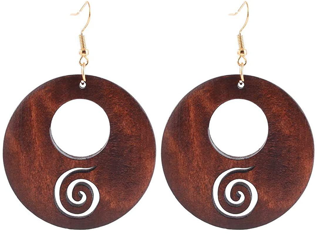 Aijian Women's Round Hollow Wooden Earrings (B1)