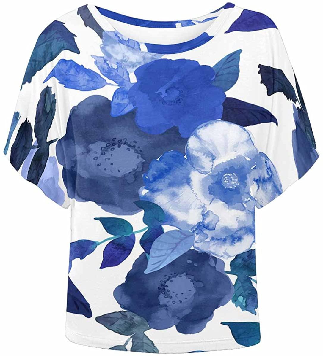 INTERESTPRINT Women Batwing Shirt Summer Casual T Shirt Blouse