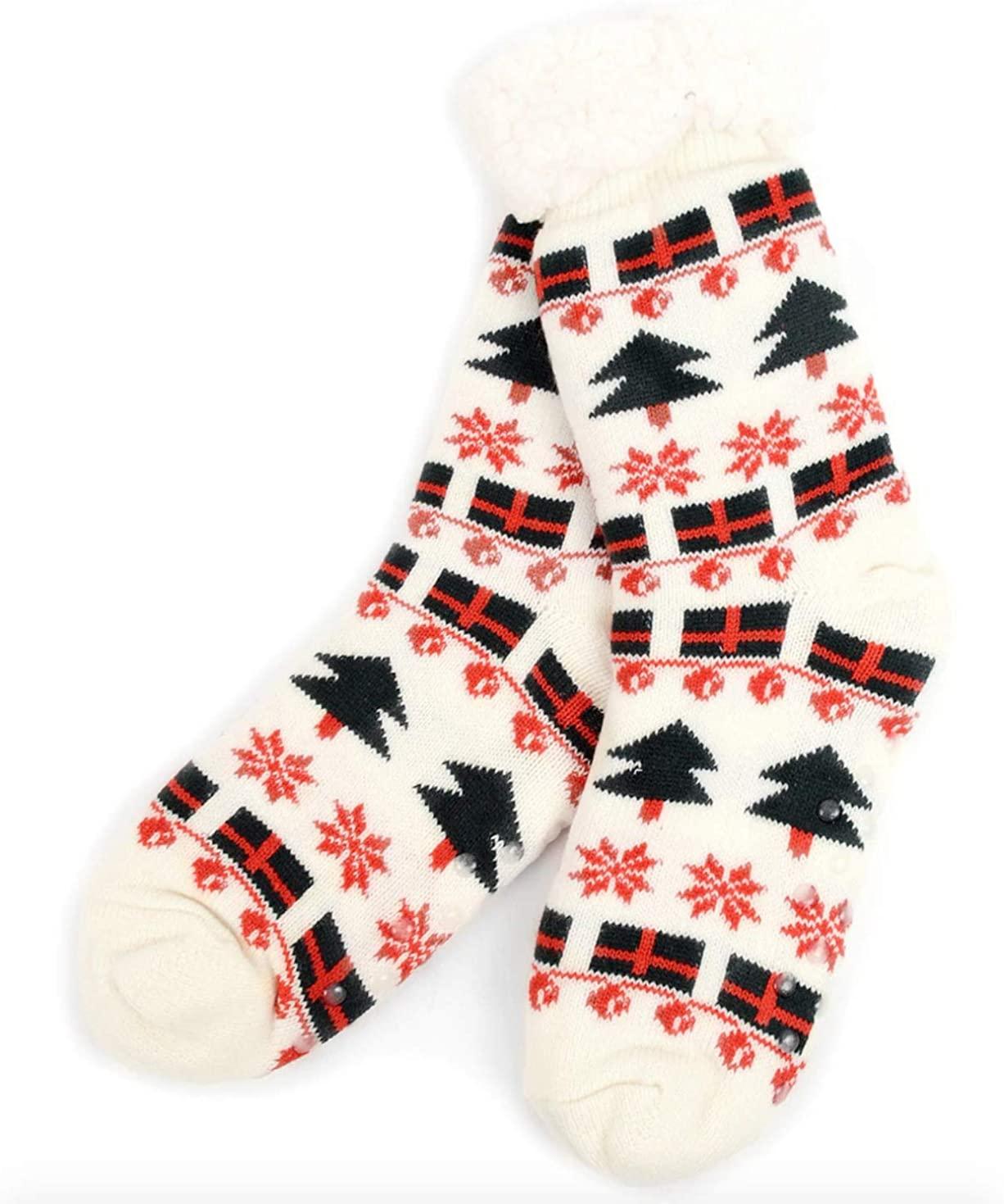Urban-Peacock Women's Plush Knitted Fleece Sherpa Lined Non-Slip Slipper Socks - Multiple Patterns Available!