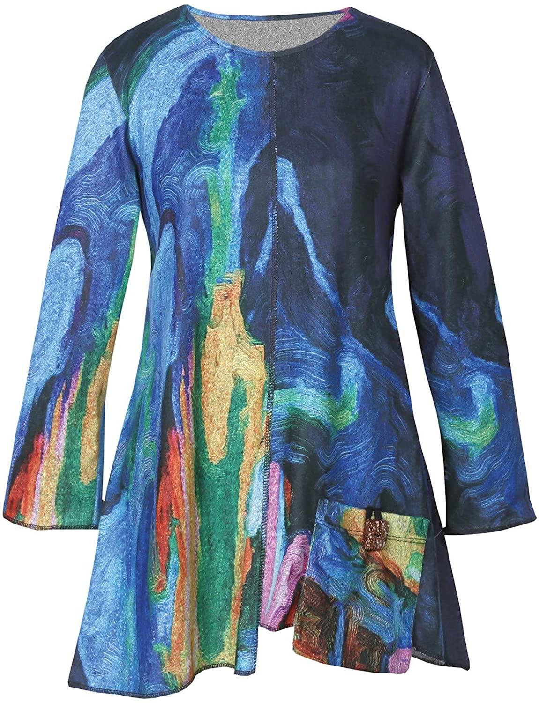 Jess & Jane Women's Layla Tunic - Swirly Colors 3/4 Sleeve Top