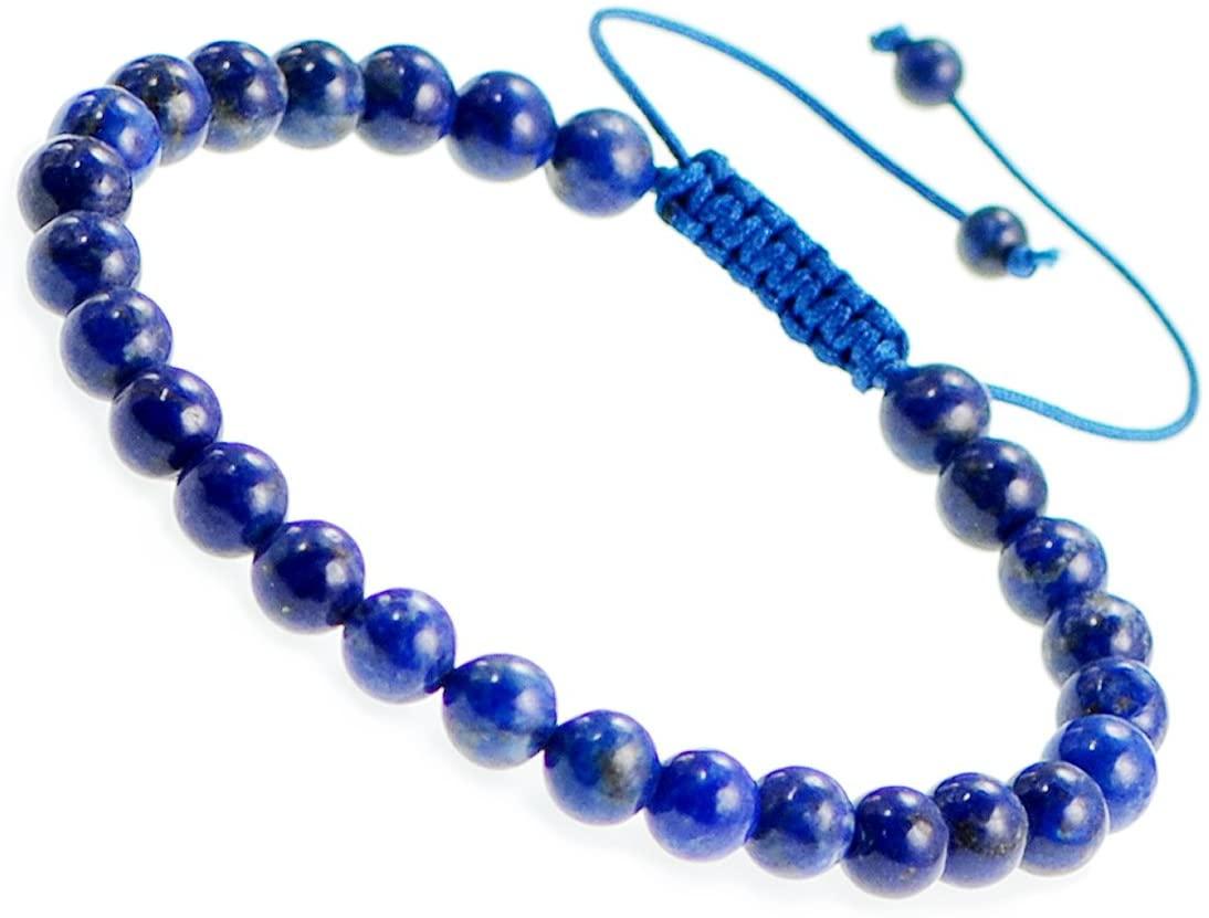 AD Beads Natural 6mm Gemstone Bracelets Healing Power Crystal Macrame Adjustable 7-9 Inch (05 Lapis)