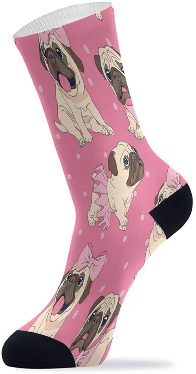 Womens Socks Funny, Colorful Patterned Socks Crew Novelty Socks Women Pug Pink