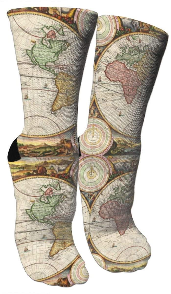 antspuent World Map Two Hemispheres Ancient History Compression Socks Unisex Fun Novelty Crazy Dress Crew Socks