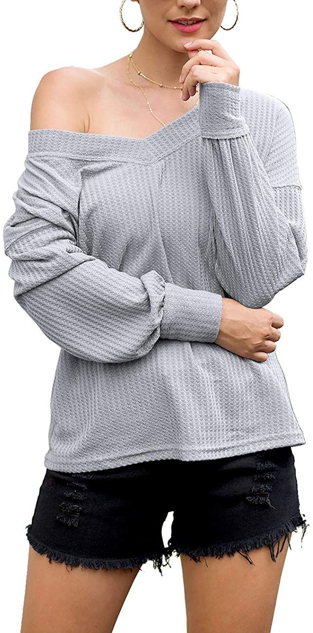 Women's Waffle Knit Top Loose V-Neck Long Sleeve T-Shirt Bat Wing Plain Shirts