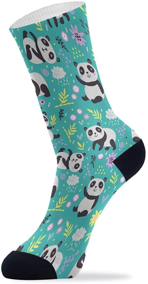 Womens Socks Funny, Colorful Patterned Socks Crew Novelty Socks Women Pandas Tree Green