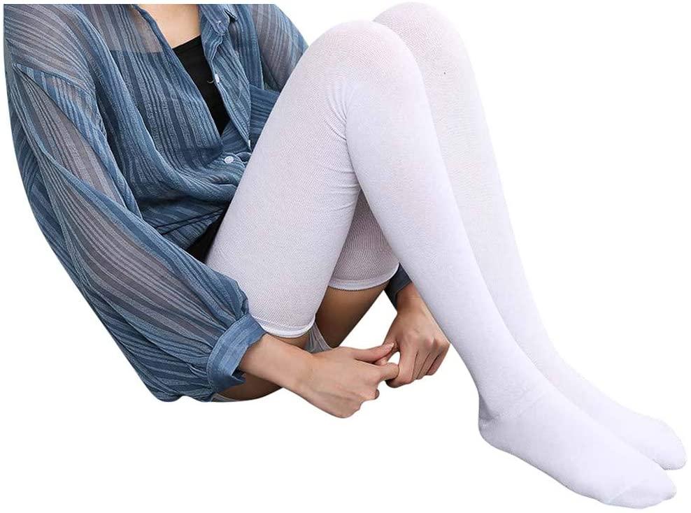 Fineday Women Girls Fashion Solid Knee Socks Stockings Silk Stockings, Socks, Clothing Shoes & Accessories (White)