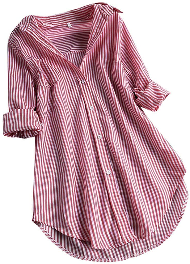 Vedolay Womens Tops and Blouse, Women's Chic Stripe Print Turn-Down Collar Button Long Sleeve Casual Loose Blouses Tunic Tops