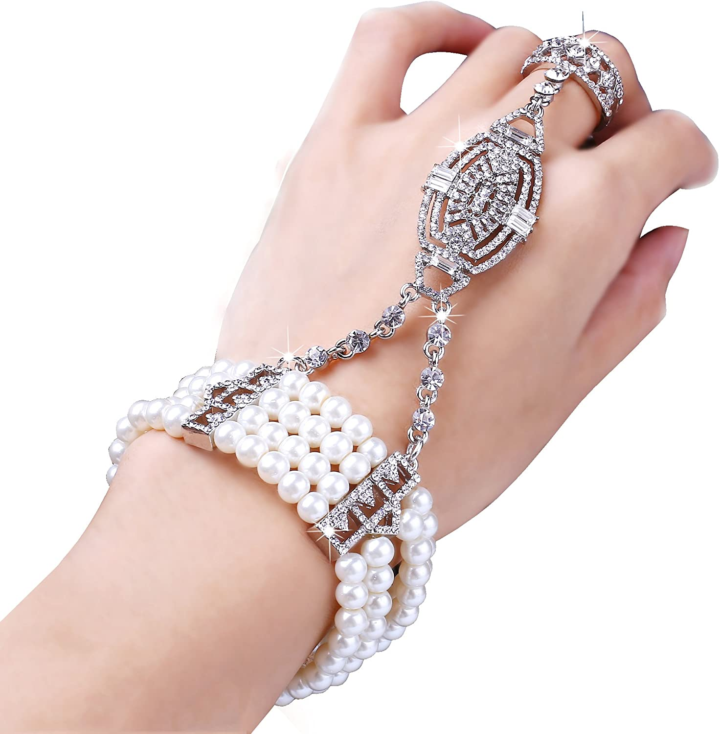 Coucoland 1920s Flapper Bracelet Ring Set Roaring 20s The Great Gatsby Austrian Crystals Imitation Pearl Bracelet Accessory