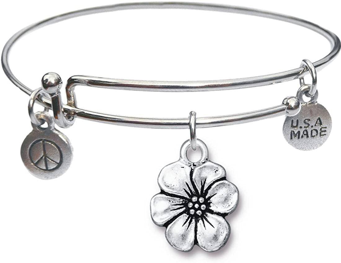 Bangle Bracelet and Apple Blossom Charm