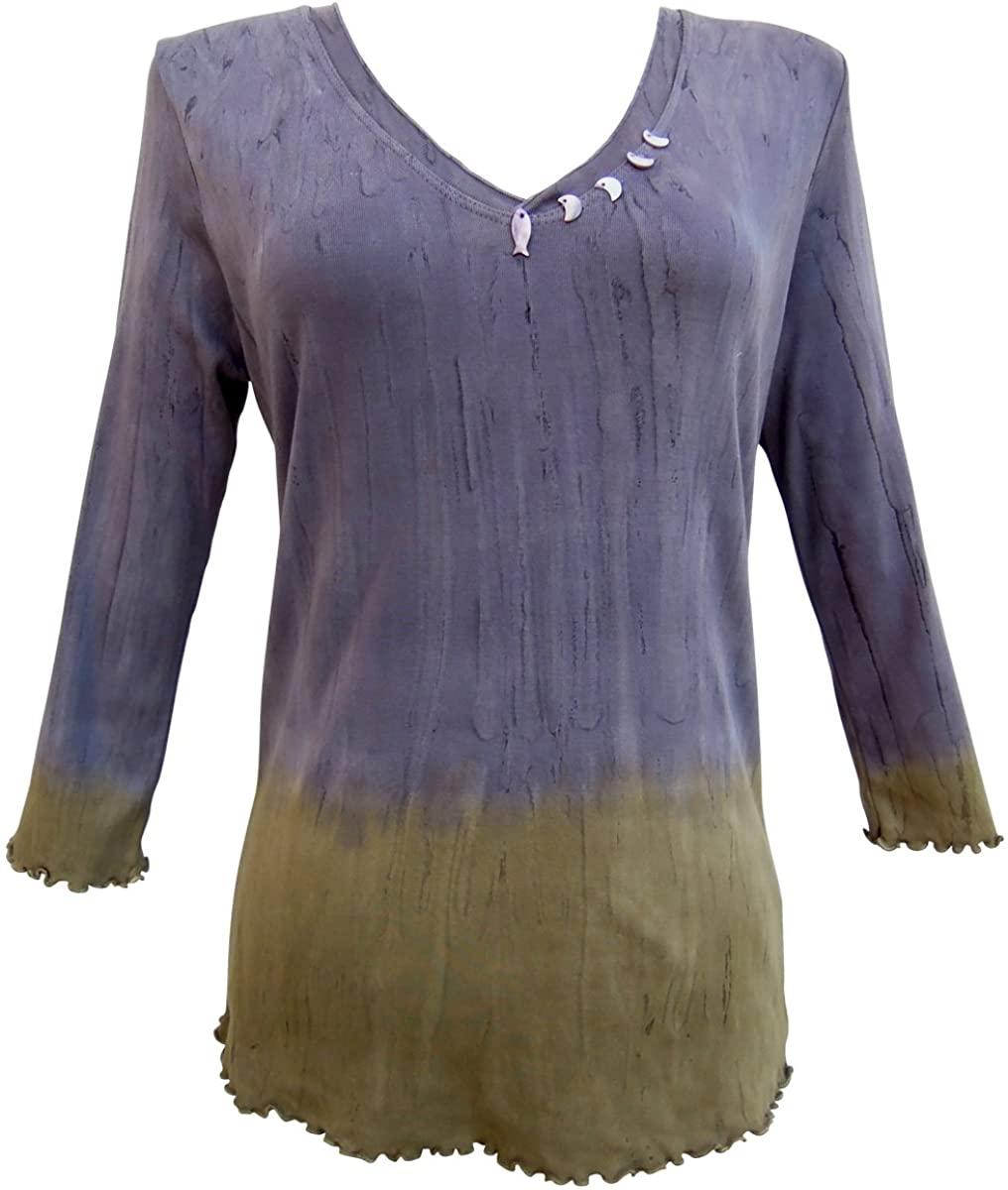 Nature Art Womens Tie Dye Colorblock Top Button Embellished Shirt 3/4 Sleeves