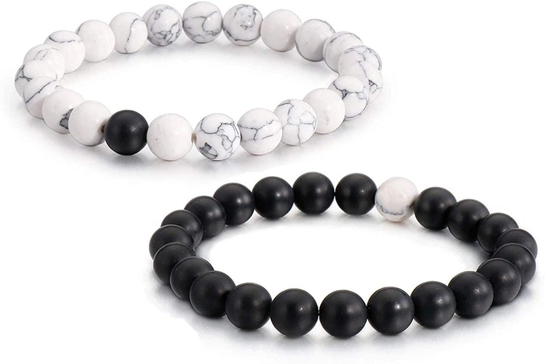oomuka 8mm White Turquoise Stone Bracelet, Couples Yoga Beads Bracelets for Men and Women(2pcs)