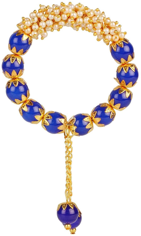 Efulgenz Indian Bollywood Traditional Antique Ethnic Pearl Beads Charm Tassel Cuff Bracelet Bangle Jewelry