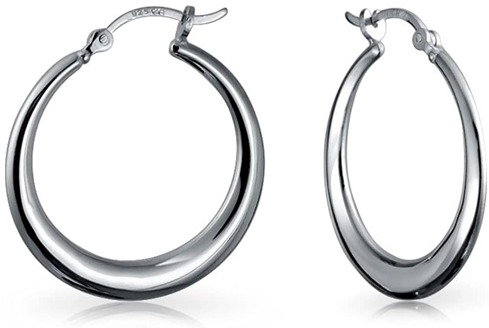 Tapered Crescent Lightweight Hollow Tube Big Hoop Earrings For Women Teen 925 Sterling Silver 1.25 Inch 1.75 Inch Dia