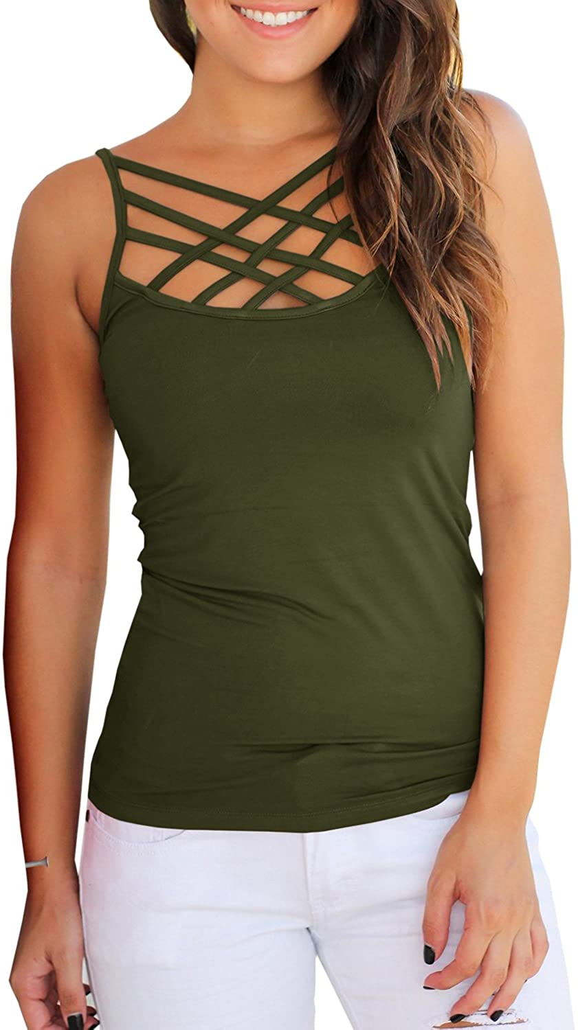 Yacooh Womens Tank Tops Cute Criss Cross Camisole Tops Hollowout Fitted Spaghetti Strap Sleeveless Shirt
