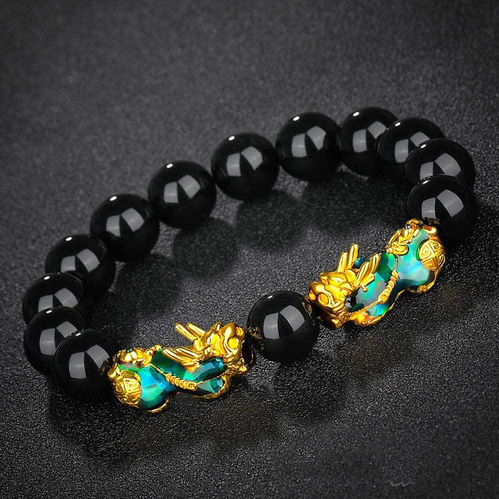 Zhaocaimao Feng Shui Good Luck Bracelets Fashion Pixiu Obsidian Stone Beads Bracelets Wristband Thermochromism Good Luck Bangle Unisex(I)