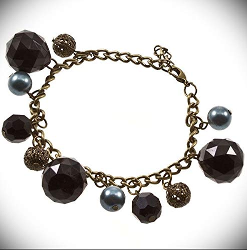 Adjustable Length Black Bead Aged Gold Tone Chain Gray Pearl Fashion Crystal Fashion Jewelry Bracelet For Women