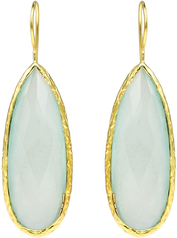 Teardrop Faceted Sea Foam Simulated Light Green Chalcedony Bezel Gold Plated Sterling Silver Drop Earrings