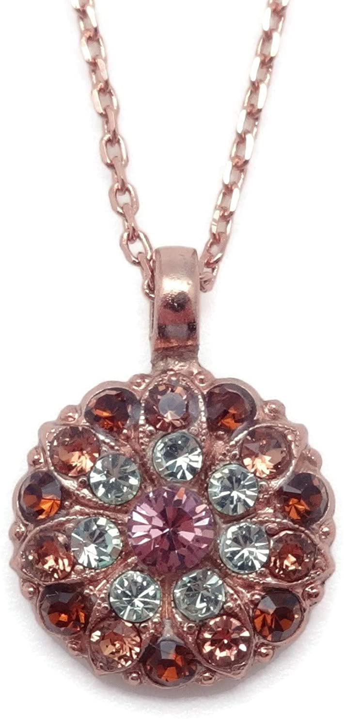 Mariana Swarovski Crystal Rose Goldtone Guardian Angel Necklace in Purple Brown Green 4301