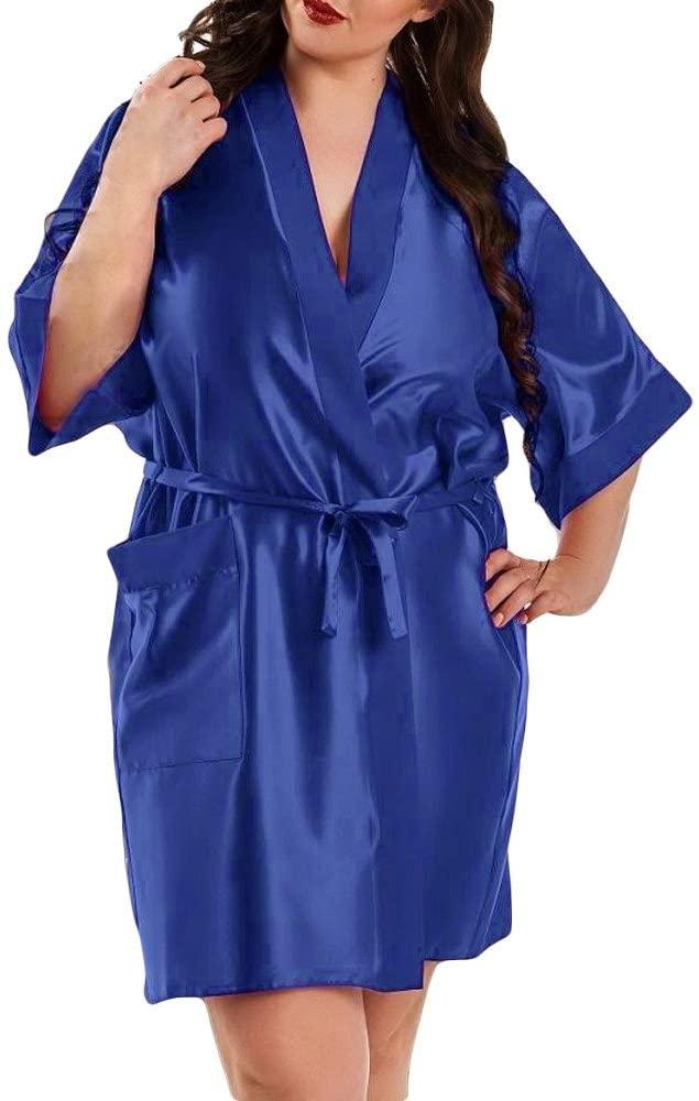 Intimates for Women, Women Satin Dressing Gown Plus Size Lingerie Babydoll Bride Children Robe, Woman Clothes Fashion 2020