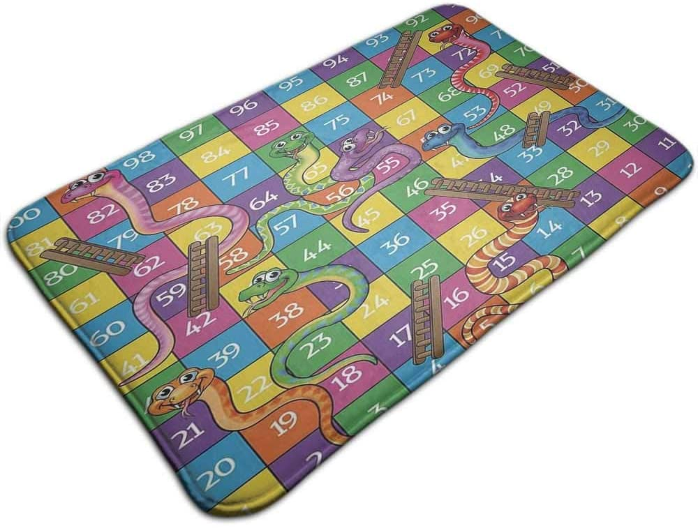 Bathroom Carpet Board Game Cute Snakes Smiling Faces Numbers in Squares Ladders Childrens 47