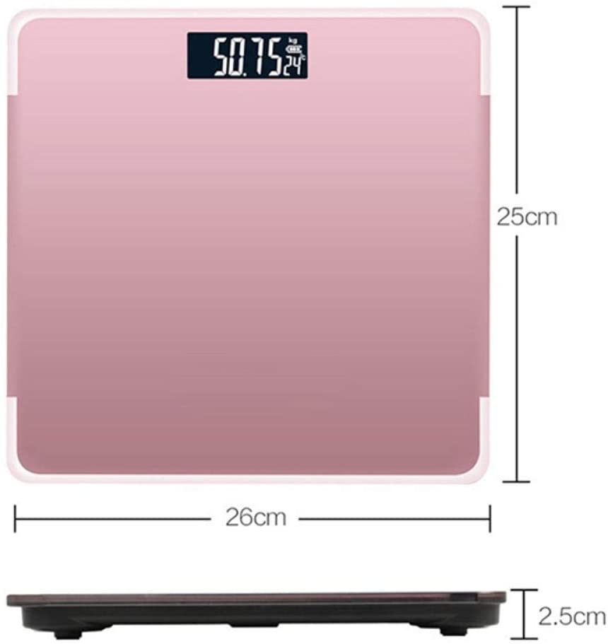 HYY-YY Weighing Scale Body Weighing Scales, Bathroom Body Bmi Scale, Digital Human Weight Scales Floor, LCD Display, 180Kg, Pink