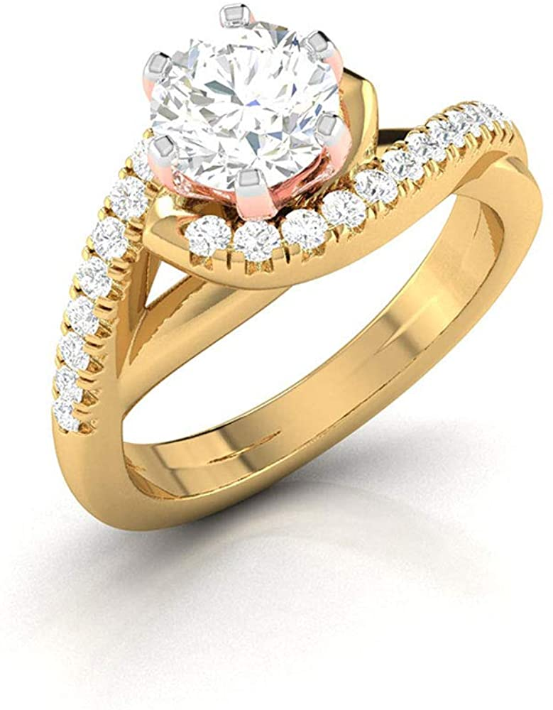 0.74Ct Solitaire Moissanite Mixed Metal Ring, IDCL Certified Gemstone DEF-VS1 Color Clarity Ring, Women Engagement Ring, Unique Gold Spiral Shank Ring, 18K Gold