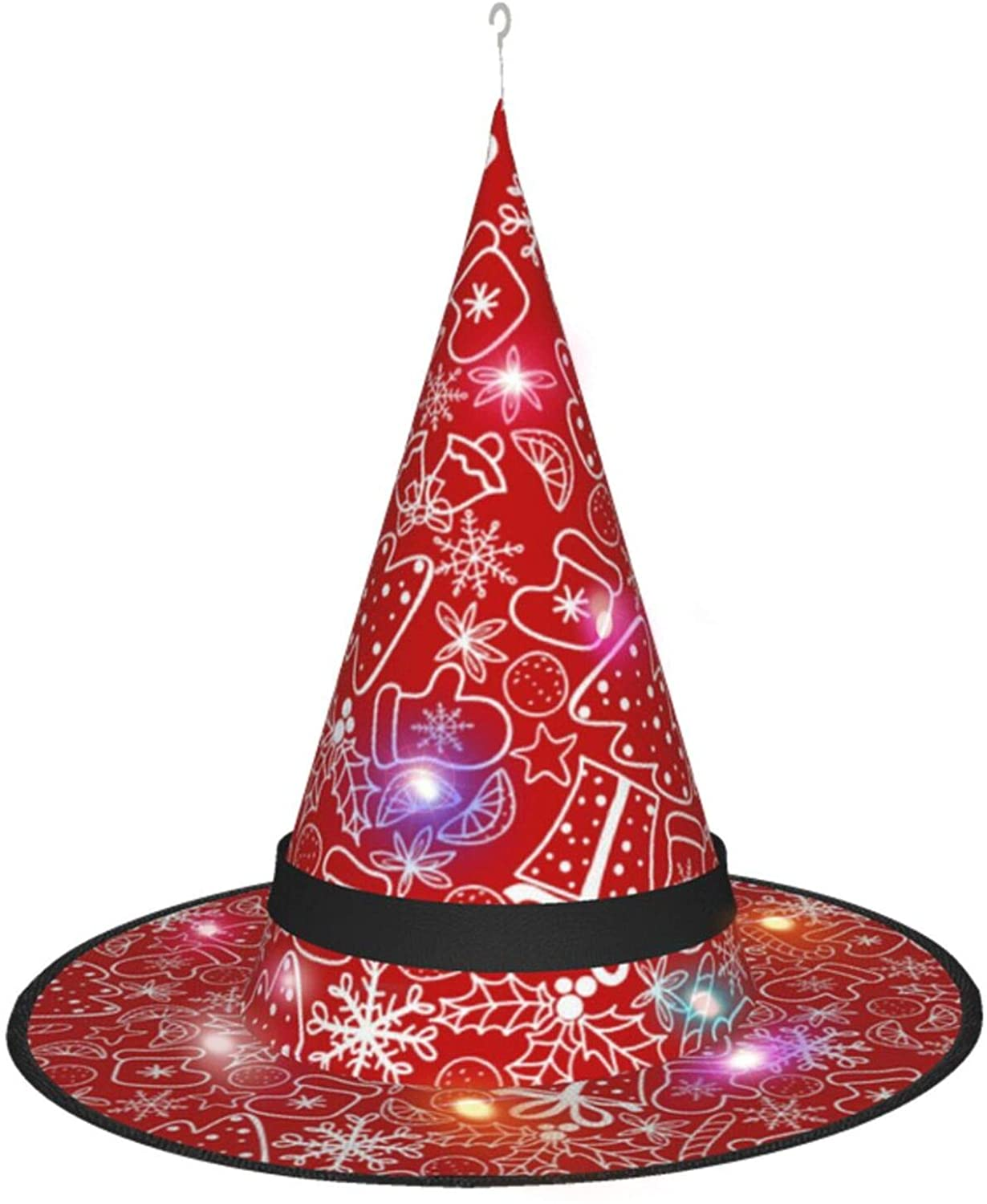 Zhung Ree Christmas Background Witch hat with Lights for Halloween Christmas Party Witch Costume Accessories, Black
