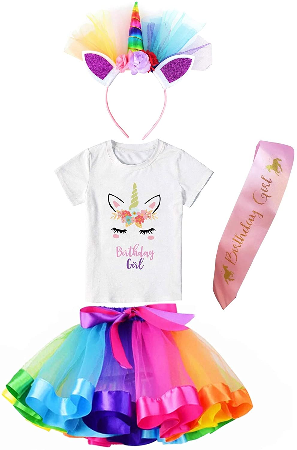 Girls Layered Tutu Skirt with Unicorn Tshirt & Headband (Rainbow, 5-6 Years)