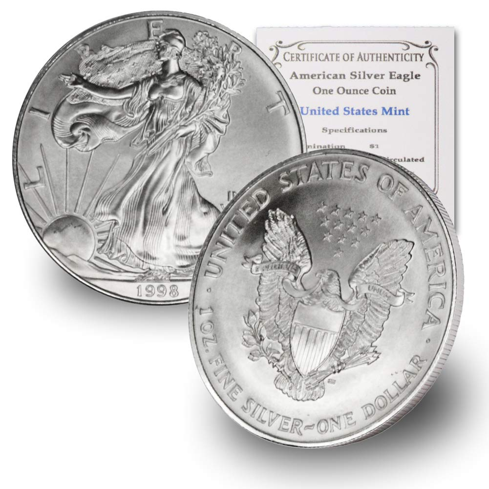 1998 American Silver Eagle by CoinFolio $1 Brilliant Uncirculated US Mint w/Our Certificate of Authenticity .999 Fine Silver