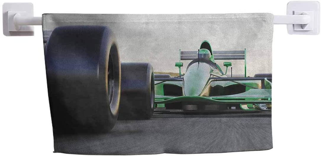DayDayFun Personalized Towel Cars Wash Cloths for Bathroom Sports Theme Indy Cars on an Asphalt Road with Motion Blur Formula Race Print 14
