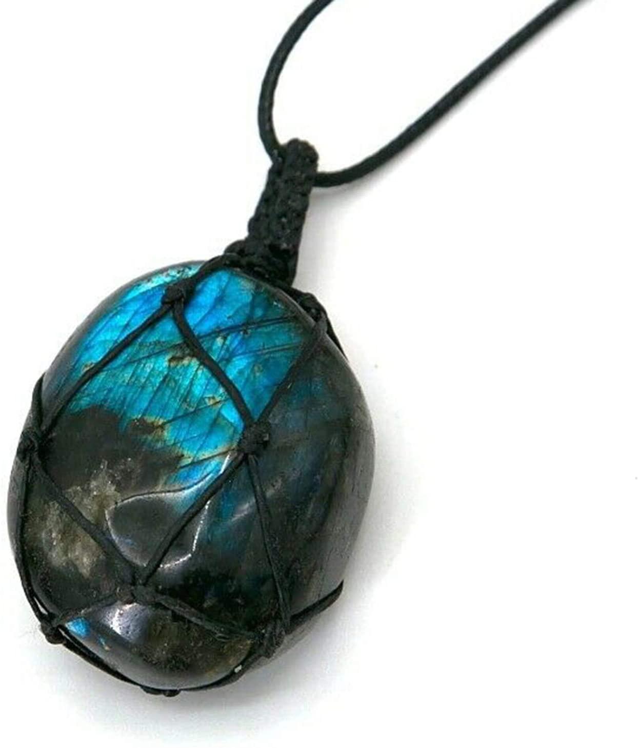 Rxan Moonstone Necklace, Labradorite Heart Pendant Energy Necklace Nature Moonstone Rough Stone Pendant Necklace Hand-Woven Style Unisex
