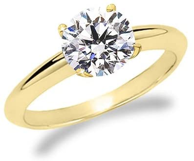 18K Yellow Gold Solitaire Diamond Engagement Ring Round Brilliant Cut (J Color SI2 Clarity 3 ctw)