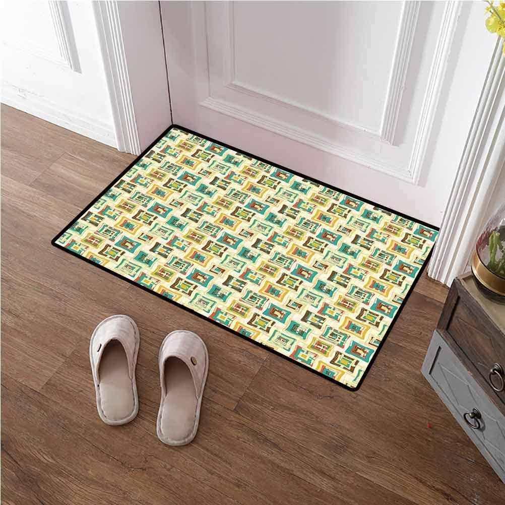 Indoor Door Mat Geometric Under Door Entryway Floor Carpet Abstract Puzzle Style Trippy Fractal Creative Overlapping Color Forms Design for Indoor Bathroom Decor Multicolor 24x48 inches