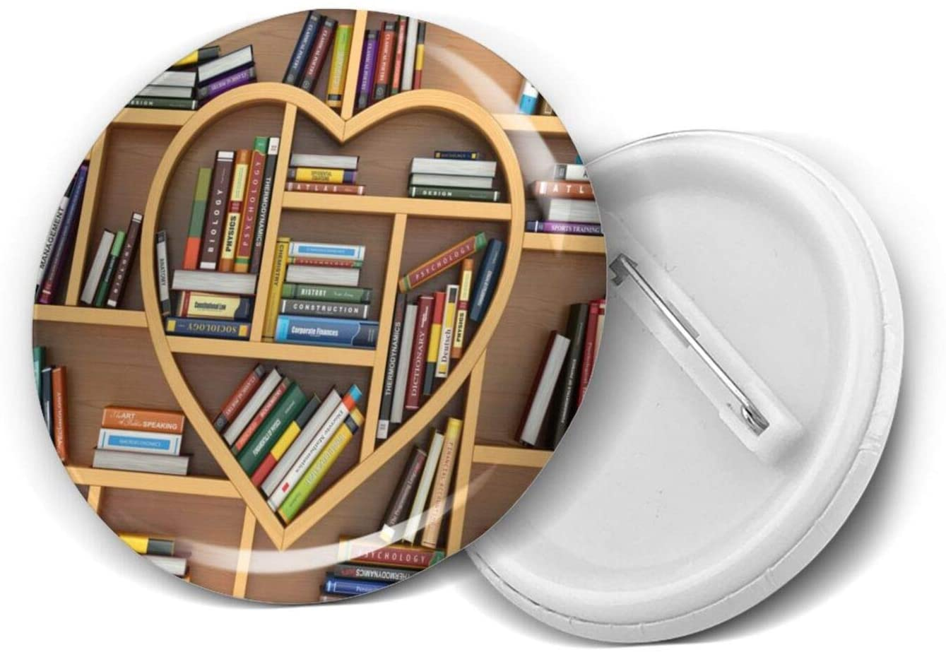Library Heart-Shaped Bookshelf Round Circle Badge Personality Pin Buckle Logo