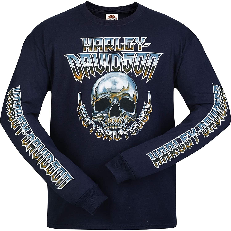 HARLEY-DAVIDSON Military - Men's Navy Long-Sleeve Skull Graphic T-Shirt - Camp Leatherneck | Chrome Dome