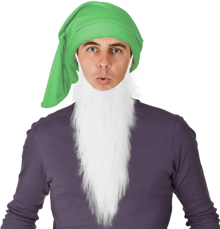 Green Dwarf Costume Hat and White Dwarf Beard Set