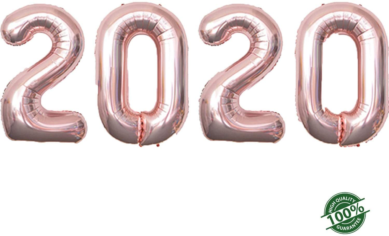 2020 Happy New Year Balloons | 42-inch Rose Gold 2020 Number Foil Large Balloons | Perfect for New Year's Party/Events as Balloon Decorations (Rose Gold)