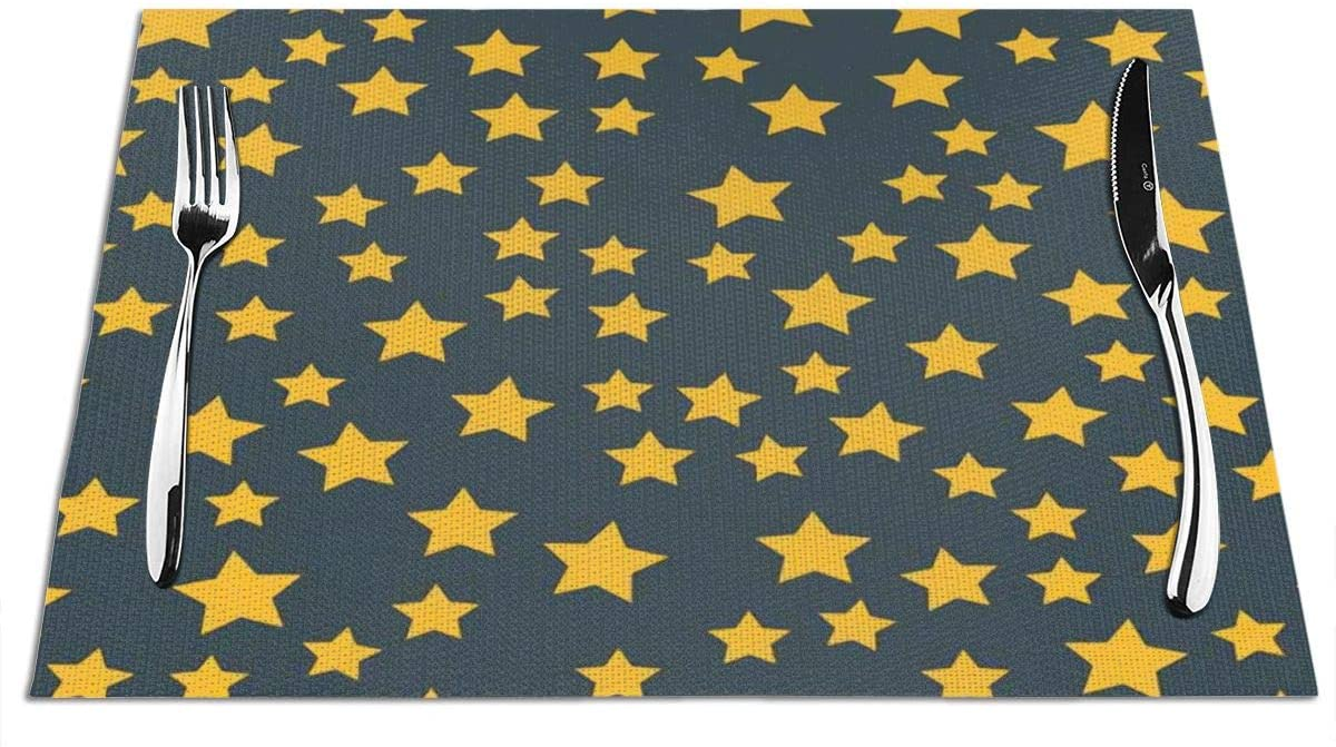DianeDawson Placemats,Shiny Star Pointed Pentagonal Gold,Heat-Resistant Stain Resistant Anti-Skid Washable PVC Table Mats Woven Vinyl,Set of 1