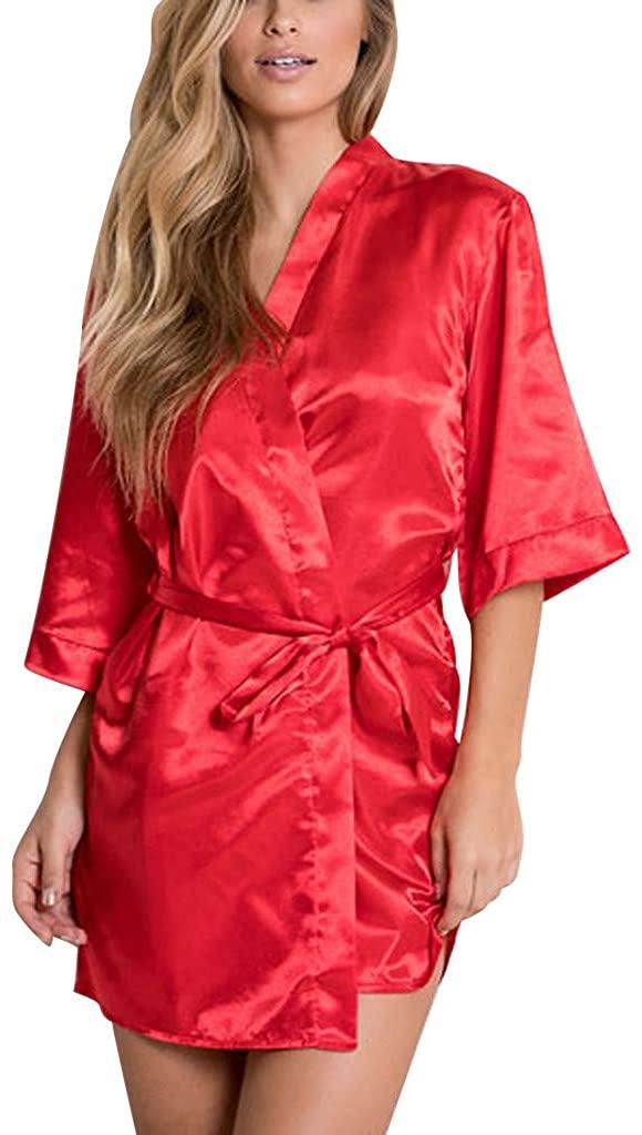 VIASA_ Womens Sexy Satin Sleepwear Lingerie Nightwear Underwear Night Gown Robe
