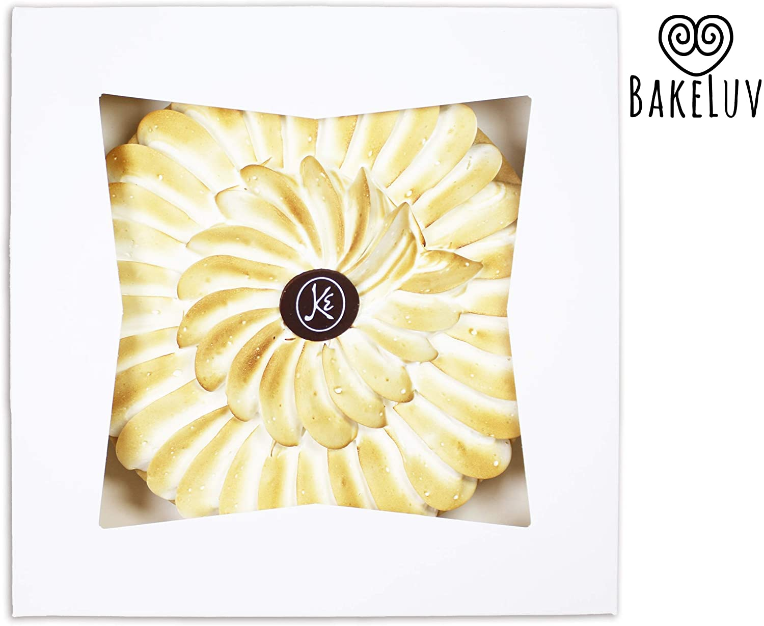 BakeLuv White Bakery Boxes with Window 9x9x2.5 inches | 50 Pack | Auto-Popup | Thick & Sturdy 350 GSM | Mini Pie Boxes with Window, Cake Boxes, Cookie Boxes, Dessert, Take Out Boxes, Pastry Boxes