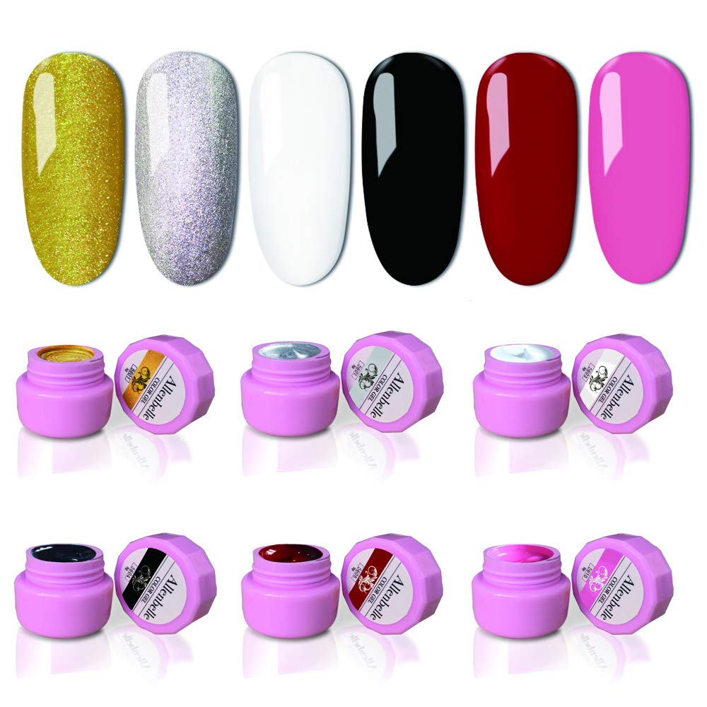 Allenbelle 6 Colors Painted Gel Soak Off UV LED DIY Manicure Nail Art Decoration 5g Each Bottle Without Nail Art Brush