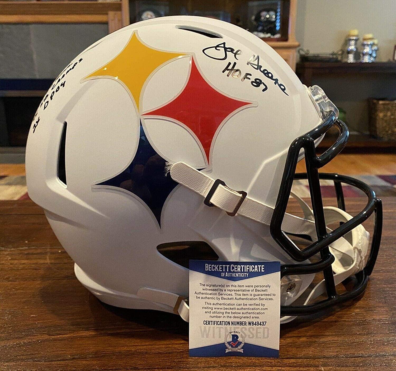 Joe Greene Signed Pittsburgh Steelers AMP Full Size Helmet 4-Stats Beckett - Autographed NFL Helmets