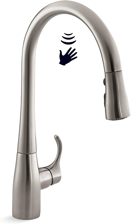 KOHLER Simplice Response Touchless Pull Down Kitchen Faucet in Stainless Steel, K-22036-VS